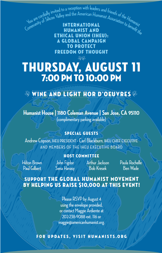 Flier for the IHEU fundraiser at Humanist House, August 11, 2016.